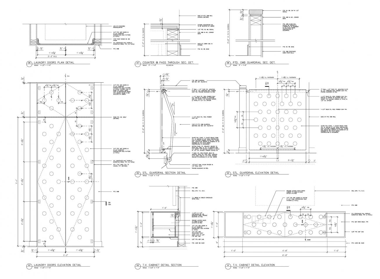 Details of custom brake-form perforated steel guard rail, doors, and wall-mounted millwork designed and fabricated by Interloop—Architecture