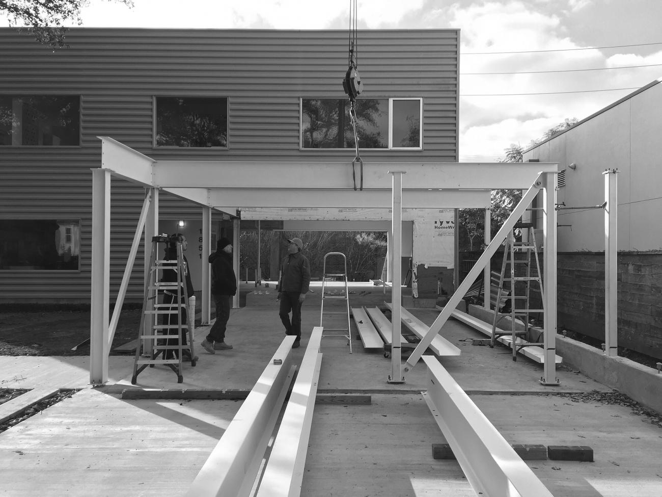 View of the custom steel superstructure, fabricated and installed by Interloop—Architecture