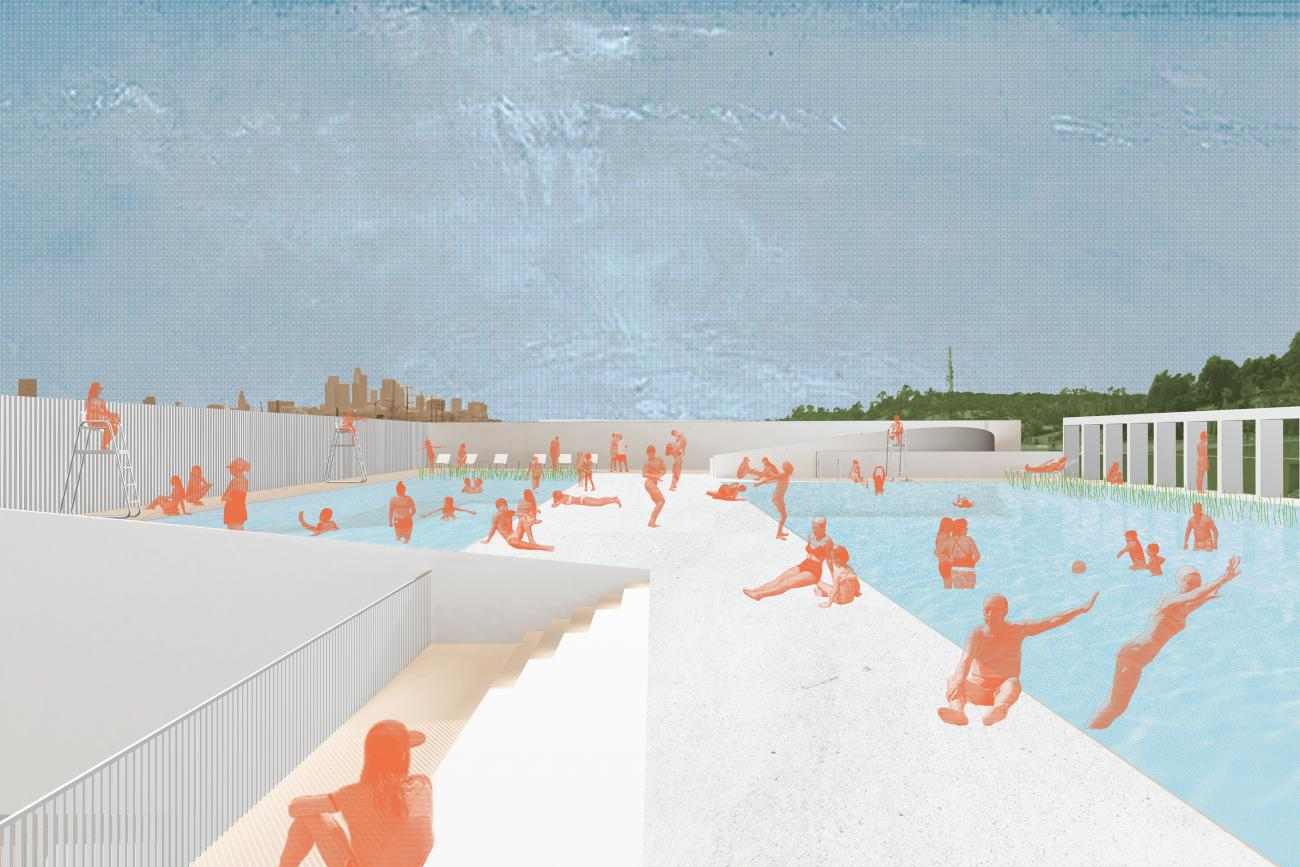 rendering of people of all ages swimming and relaxing in the pool