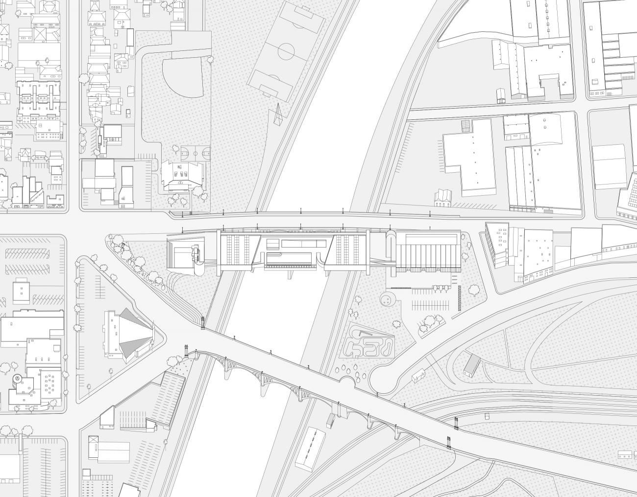 Thesis Hazinski: bridge with pools and parks image drawing