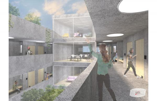 A rendering of the dormitory design.
