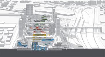 autonomous urban center combining civic, cultural, and commercial